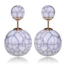 sided earrings white marble sided earrings