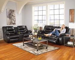 ashley furniture home theater seating linebacker durablend black reclining living room set from ashley