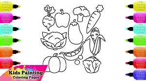 kids painting coloring pages how to draw and coloring vegetables