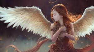 brown haired wings girls fantasy angels 2560x1440