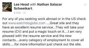 Resume For Work Abroad Watchdog Jobs U2013 Work Your Next Contract Watchdog Jobs