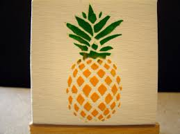 Tropical Decor Pineapple Encaustic Crayon Art Mini Easels Crayon Art