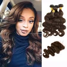 cheap 4 bundles with lace closure dark brown brazilian body wave