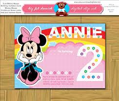 Minnie Mouse Invitation Card Cute Minnie Mouse Birthday Invitation Card Mickey Mouse Clubhouse