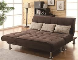 transitional styled sofa sleeper futon bed in brown microfiber