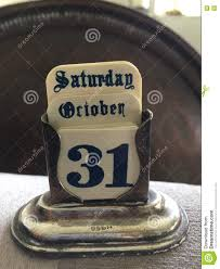silver antique old calendar saturday 31st october halloween old