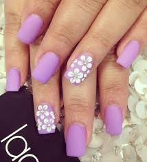 lilac matte purple nails with white flowers beauty pinterest