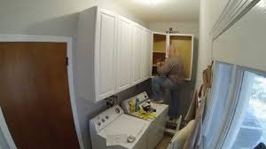 How To Install Upper Kitchen Cabinets Laundry Room Cabinet Install Timelapse Youtube