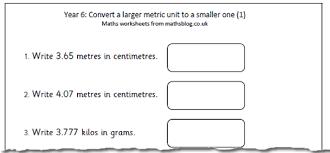 year 6 maths worksheet converting metric units maths blog