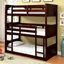 Three Tier Bunk Bed Therese Bk628 Wood Cappuccino 3 Tier Bunk Bed