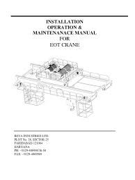 manual for eot cranes crane machine transmission mechanics