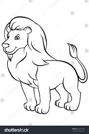 coloring pages animals cute lion stands stock vector 413641690