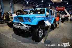 jeep chief 2017 sema black forest blue jeep jk wrangler unlimited gladiator
