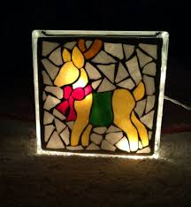 lighted mosaic glass block reindeer my work pinterest glass
