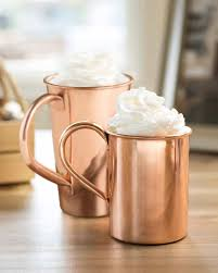 set of 2 double walled copper mugs balsam hill