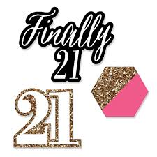 cut outs finally 21 girl 21st birthday shaped party paper cut outs 24