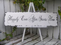 happily ever after starts here sign wedding sign shabby chic
