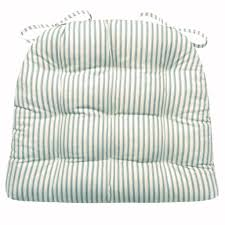 Rocking Chair Cushions White Berlin Ticking Aqua Dining Chair Pad Reversible Latex Foam Fill