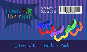 amazon com 3 legged race bands 6pc per pack carnival field day
