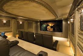 comfortable home theater seating dark brown leather sofa on the cream floor combined with large