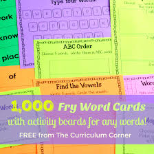 Words Cards Fry Word Cards U0026 Activity Boards The Curriculum Corner 123