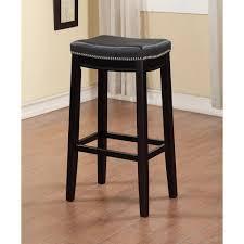 Black Backless Counter Stools Linon Home Decor Claridge 30 In Black Cushioned Bar Stool