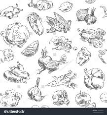 freehand drawing vegetables vector illustration seamless stock