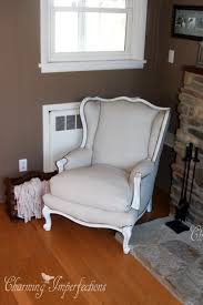 How To Make A Wing Chair Slipcover Affordable Diy No Sew Wingback Chair Re Upholster