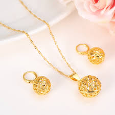 fashion necklace earring sets images New fashion cute jewelry gold round ball jewelry sets for women jpg
