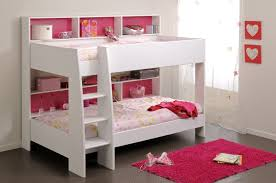 girls white beds bedroom mini white bunk bed with steps and wall shelves for