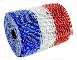 wide mesh ribbon wide mesh ribbon white and blue metallic 5 5 inches wide by