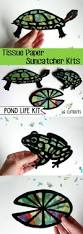 kids craft pond life stained glass tissue paper suncatcher kit