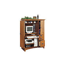 sauder mission computer armoire with side storage fruitwood by
