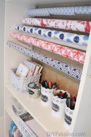 wrapping paper station turn a small space into organized wrapping paper storage wrapping
