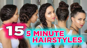 cute hairstyles you can do in 5 minutes 15 easy 5 minute hairstyles 5 minute heatless hairstyles youtube