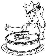 birthday boy coloring pages birthday boy cutting his birthday cake colouring page happy