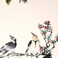 birds with peony flower tree watercolor