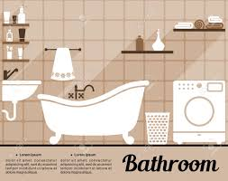 Old Fashioned Bathtubs Flat Bathroom Interior Decorating Infographic Template With An