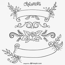 calligraphic flower with ornaments vector free vector