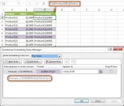 excel conditional formatting formulas
