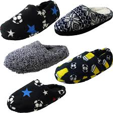 mens boys football fur slip on fabric mule soft