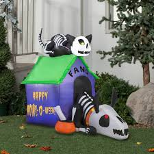 halloween inflatable gemmy airblown inflatable 3 5 u0027 x 4 5 u0027 skeleton dog and cat