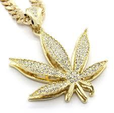 gold pendant chain necklace images Mens gold tone marijuana hip hop pendant 30 quot 10mm cuban chain jpg