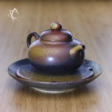 shaped teapot ash glazed gourd shaped teapot with small tea boat set taiwan