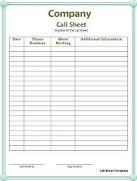 Call Sheet Template Call Sheet Template Free Word Templates