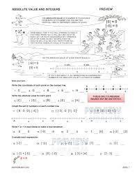 absolute value number line worksheet worksheets