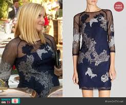 wornontv jeannie u0027s navy blue lace illusion dress on house of lies