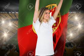 Portugal Football Flag Pretty Football Fan In White Cheering Holding Portugal Flag