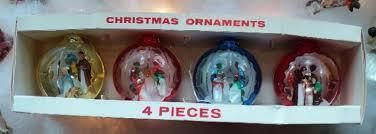 of 4 vintage jewelbrite plastic nativity ornaments