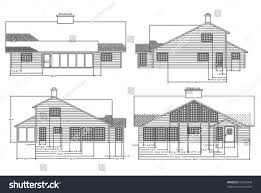 home construction plans elevation view home construction plans stock vector 69758044